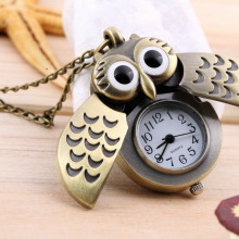 Cartoon Retro Bronze Owl Pocket Watch Sweater Chain Necklace Slide Watch relogio masculino