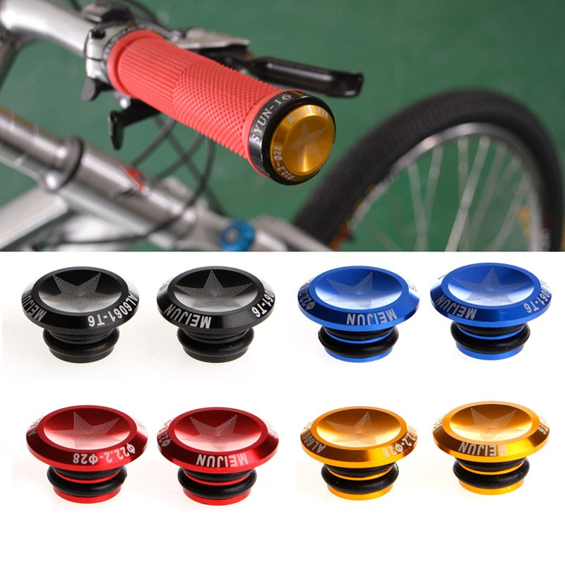 2Pcs Bicycle MTB Aluminum Alloy Grip Handlebar Bar End Plugs Stoppers Caps