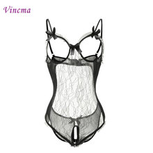 Buy Hot Style Women's Erotic Lingerie Silver Lace Flower Open Bra ,Open Crotch Porno Sexy Lingerie Babydoll Dress Plus Size Nuisette