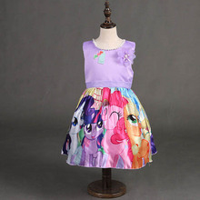 HOT! Summer Pretty Cute Princess Dress for Girls Children's Sleeveless O-neck Purple Pink Dress for Kids 3T-8T/100-150cm Tall(China)