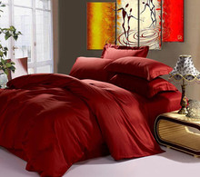 100%  Egyptian cotton 1200 TC duvet cover fitted sheets set King size 1.7 meters wine red color 6 pieces set customize