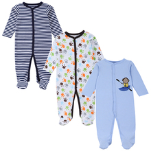 Mother Nest 3 PCS Baby Rompers Overalls Long Sleeves 100% Cotton Baby Pajamas Romper Suit Baby Boy Clothes Newborn Sliders V49(China)