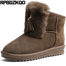 Booties Casual Comfortable Winter Snow Boots Women Ankle Shoes Suede Fur Fringe Brown Slip On Lace Up Furry 2017 Chinese Fashion(China)