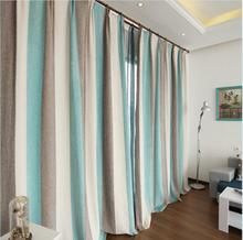 Bedroom Blackout Linen Curtains Colorful strips Customize Sizes