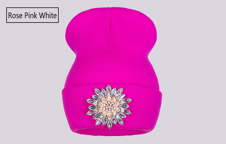 Ralferty 2018 Winter Hats For Women Knitted Luxury Flower Crystal Beanies Hat Female Skullies Caps Black Streetwear Gorras Gorro 8