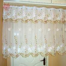 gardinen white floral embroidery half-curtain bay window curtain tulle for coffee kitchen room cortina pastoral SP3872 Free Ship(China)