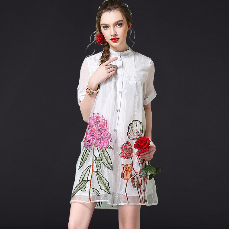 Summer Loose Retro Dress Maternity Clothes Embroidery Flowers Large Size Pregnancy Dress Shirt Type Dresses For Pregnant Women<br>