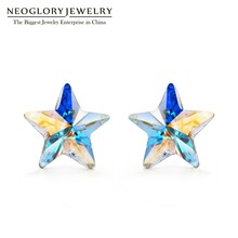 Neoglory Brand Jewelry Star Crystal Stud Earrings Silver 925 for Women Fashion Jewelry 2017 New Birthday Gifts MC(China)