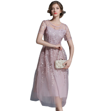 Buy 2018 New Arrival Women Embroidery Flower Casual Dress Summer Mesh Dress Pink Dresses Long Sexy Dress Clothing Vestidos for $27.99 in AliExpress store