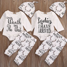 Newborn Infant Baby Boy Girl Kids Deer Outfit Set Long Sleeve Romper Tops + Pants Leggings+ Hat Clothes 3pcs Set Cotton Outfit