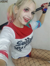 Hot-sale  Top T Shirts for Women Plus Size S-2XL Suicide Squad Harley Quinn Halloween Costume