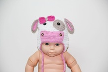 Crochet cow hat, earflap braids, cow baby beanie, toddler cow hat, baby hat , Crochet Cow hat with bows and braided String Ties