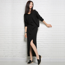 2 Pics Women Sweater Loose Tops+Skirts Cashmere Knitting Pullovers Hot Sale lady Fashion Jumpers and Dress for party