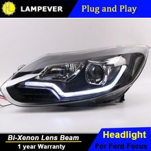 Lampever Styling For Ford FOCUS headlights of Audi A8 style For FOCUS LED head lamp led DRL front light Bi-Xenon Lens xenon HID