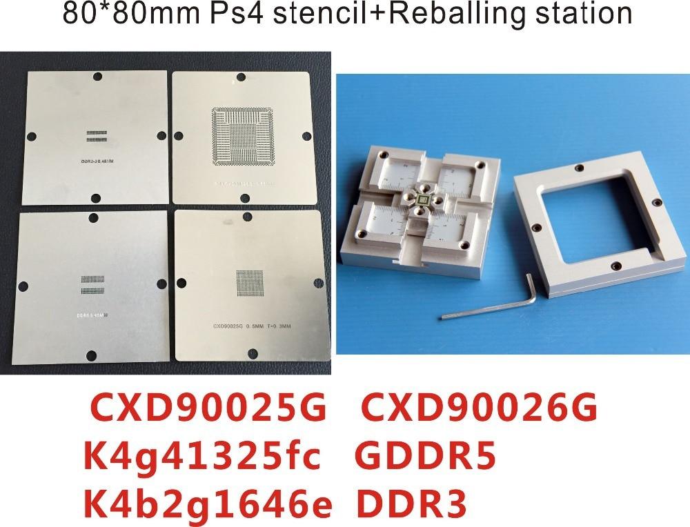 Free Shipping 80*80 mm PS4 stencil cxd90025g Cxd90026g K4g41325fc GDDR5 RAM K4b2g1646e DDR3 gps-sdram+HT-80h Reballing Station<br>