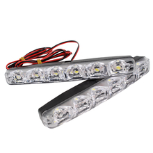 1 Pair DRL LED Car Daytime Running Lights 6 LEDs DC 12V Auto Fog Light Driving Lamps Car-syling Super Bright(China)