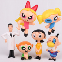 6 Pcs/set The Powerpuff Girls Action Figure Toys Cute Cartoon Blossom Bubbles Buttercup Model PVC Dolls Kids Christmas Gift