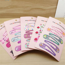 AKWZMLY 2017 Girls 12pcs/lot Hair Accessories Colorful Metal Snap Hairclip Kitty Strawberry Cute Reborn Hairpin(China)