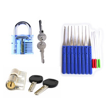 Free Shipping!Locksmith Practice Tool Set 1Pcs Transparent Padlock +1PCS AB Kaba Lock+ 12PCS Broken Key Extractor Tools