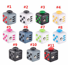 Free DHL 100pcs/lot Mini Fidget Cube 11 Colours Desk Finger Toy Fun Stress Reliever Puzzle Magic Cube With Box