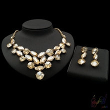 New gold Yulaili design african jewelry sets water droplets big crystal jewellery sets