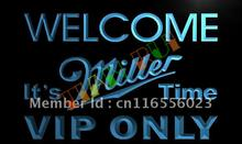 LA671- VIP Only Welcome Miller Time Beer LED Neon Light Sign
