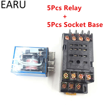 5Pcs MY4NJ Electronic Micro Mini Electromagnetic Relay 5A 14PIN Coil 4DPDT With PYF14A Socket Base DC12V 24V AC110V 220V LED