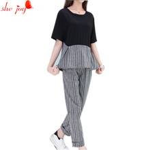 Summer Plus Size 2PC Set for Women Shirt + Pants Women's Tracksuits Large Size M- 4XL Tops and Trousers Two Piece Sets Suit