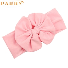 Newly Design 2015 Big Bowknot Little Girls Cotton Headband Children Kids Head Wraps Accessories Drop Shipping