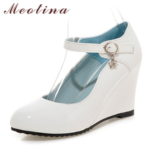 Meotina Shoes Women White Wedding Shoes Patent Leather Wedge Heels Round Toe High Heels Mary Jane Shoes Pink Black Small Size 39(China)