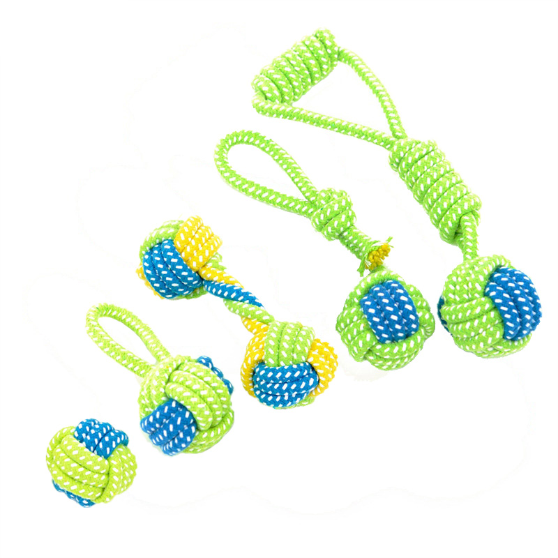 5 Sizes Pet Cotton Rope Knot Ball Non-toxic Colorful Grinding Teeth Chewing Dog Toy Training Rope Ball For Dog Cat(China (Mainland))