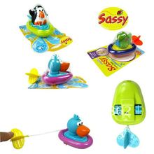 3pcs/lot hot seller cute sassy swim bath toys Penguin/Pelican/Dinosaur Pull and Go Boat baby game toy