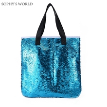 Luxury handbags women bags designer fashion sequins open bag leather strap women shoulder bags large size tote shopper bag(China)
