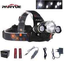 PANYUE XM-L T6 13000 Lumen   LED Headlamp Headlight Caming Hunting Head Light Lamp 4 Modes +2*18650 Battery + AC/Car Charger