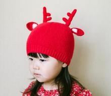 3PCS christmas best gife ANGORA WOOL Santa elk knitted cap kid hat girls red cap 2colors winter children tide hat free shipping