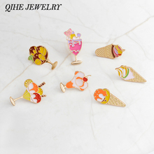 QIHE JEWELRY Pins and brooches Ice cream pin Lapel pin Badge Backpack hat jeans accessories Ice cream cone jewelry Foodie gift(China)