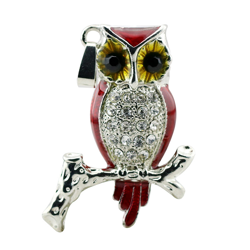 Animal USB Flash Drive Metal Diamond Owl Pendrive Nighthawk Pen Drive 4GB 8GB 16GB 32GB 64GB USB Memory Stick Gift With Necklace 40
