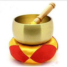 9.5cm Copper Chinese Tibet Craft Religion Belief Buddhist Supplies Tibetan Singing Bowl + Hand Stick and Cushion Home Decoration