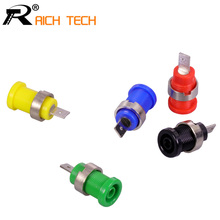 5PCS Banana plugs black+red+blue+yellow+green banana female jack binding post wire connector mix colors(China)