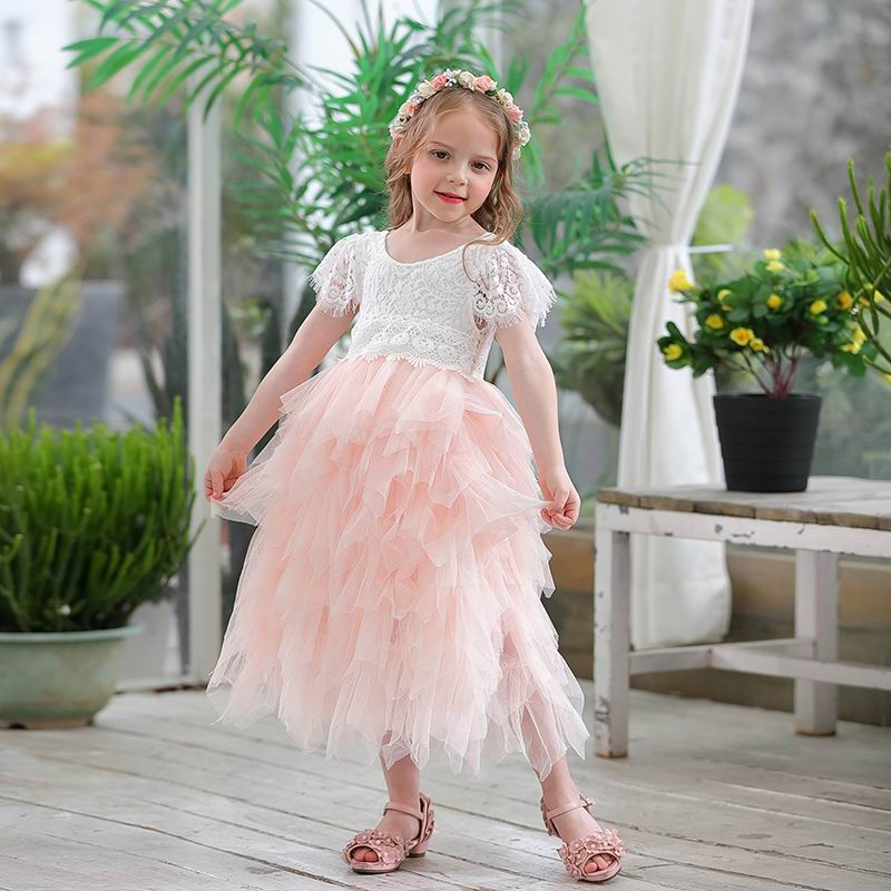 Retail 2018 Spring Summer New Girls Princess Dress Eyelash Back Lace Fluffy Tulle Wedding Party Dress Children Clothing E13841