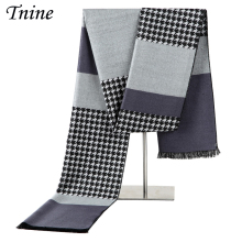 Luxury Brand Design Houndstooth Scarf Men Imitation Cashmere Scarves Winter Warm Striped Shawls Wrap Plaid Men Business Scarves(China)