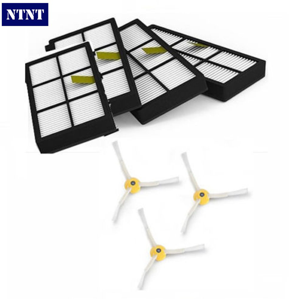 NTNT Free Post New 2 pack Hepa Filters &amp; 3 armed side brush for iRobot Roomba 800 series 880 870<br><br>Aliexpress