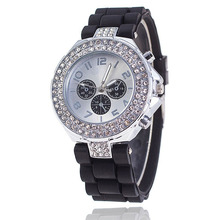 Vansvar Brand Fashion Silicone Watch Crystal Silicone Jelly Watches Watched Women Rhinestone Watch Relogio Feminino BW1000