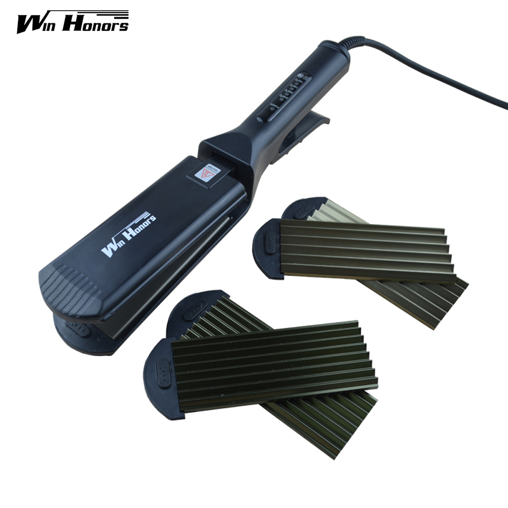 3-in-1 Hair Straightener Professional Hair Care Styling Tools Crimper Iron Small Ripple and Big Ripple Irons Dual Function<br>