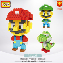 TOP!! Super Mario LOZ Blocks Diamond Action Figure Luigi Yoshi Mario Building Blocks Dolls 3D DIY Bricks early educational Toy