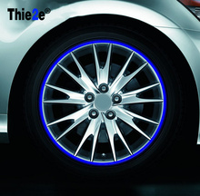 "New! 16 Pcs Strips Wheel Stickers And Decals 14"" 17"" 18"" Reflective Rim Tape Bike Motorcycle Car Tape 2 Colors Car Styling(China)"
