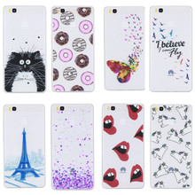 P9 Cute Donuts Sexy lips Butterfly Pure Cover Case For Huawei P9 Lite Fashion Ultra Slim Silicone Woman Mobile Phone Gel Cases
