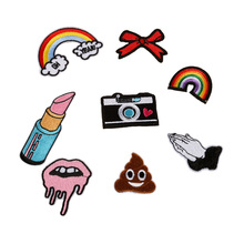 1PCS Rainbow Lip Balm Camera Poo Patch Iron On Embroidered Patch For Clothing Stick On Badge Paste For Clothes Sew On Bag Pants