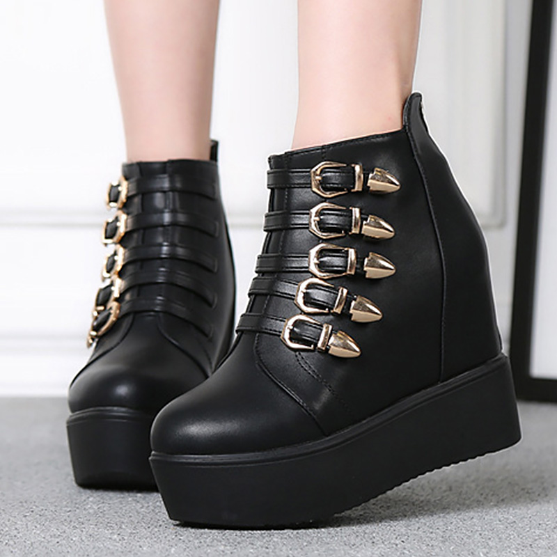 2017 Elegant fashion solid black boots women super high plush round toe metal decoration ankle boots plus size 34-41<br>