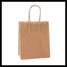 Free shipping 20pc Classial kraft paper bag with handle children favor wedding Party Gift Paper Bags 21*15*8cm(China)